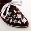 "EXCLUSIVE! ""Louis"" Velveteen and Silver Court Shoes (Wine)"