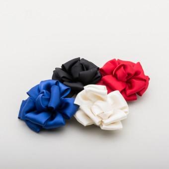 Satin Ribbon Rose Shoe Clips