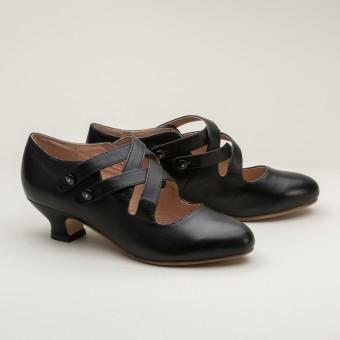 """Astoria"" Edwardian Leather Shoes (Black)(1900-1925)"