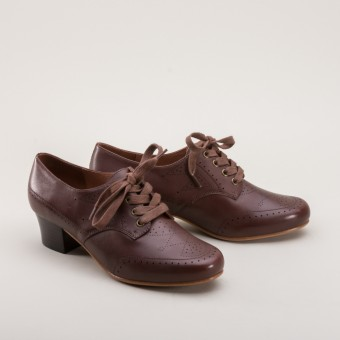 """Claire"" 1940s Oxfords (Brown)"