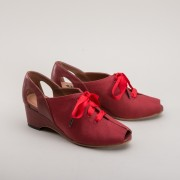 """Daphne"" Retro Wedge Sandals (Red)"
