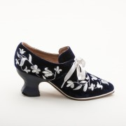 """EXCLUSIVE! """"Louis"""" Velveteen and Silver Court Shoes (Blue)"""
