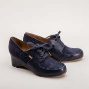 Harriet 1940s Wedge Oxford (Navy Blue)