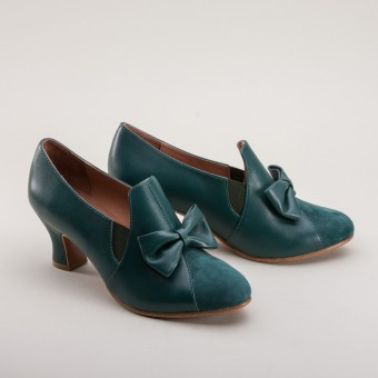 """Maria"" Retro Bow Pumps (Green)"