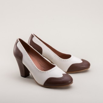 """Peggy"" 1940s Spectator Pumps (Brown/White)"