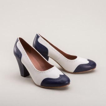 """Peggy"" 1940s Spectator Pumps (Navy/White)"
