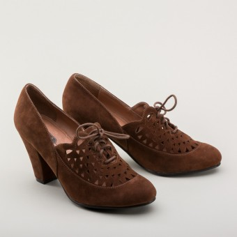 """Alice"" Retro Cutout Oxfords (Nutmeg)"