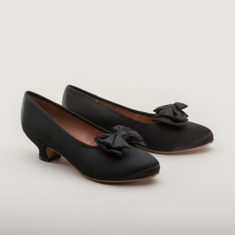 """Amelie"" Satin Pumps (Black)(1880-1920)"