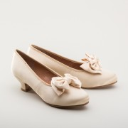 "IMPERFECT ""Amelie"" Satin Pumps (Candlelight)(1880-1920)"