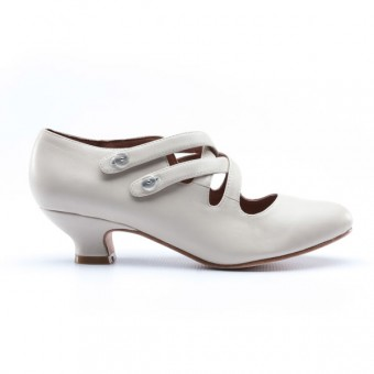 """Astoria"" Edwardian Leather Shoes (Ivory)(1900-1925)"