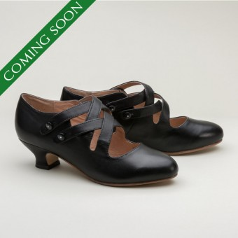 Astoria Edwardian Leather Shoes (Black)(1900-1925)