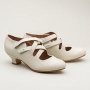 """""""Astoria"""" Edwardian Leather Shoes (Ivory)(1900-1925)"""