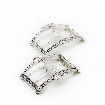 """""""Forget Me Not"""" 18th Century Shoes Buckles (Silver)"""