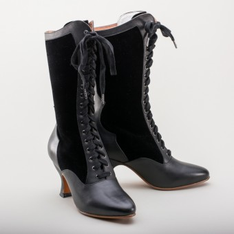 """Camille"" Edwardian Boots (Black)(1890-1930)"