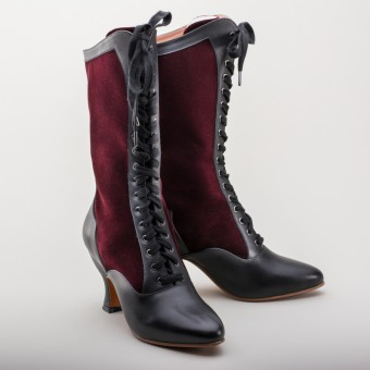 """Camille"" Edwardian Boots (Burgundy/Black)(1890-1930)"