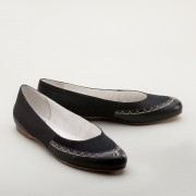 """Dashwood"" Regency Slippers (Black)(1800-1820)"