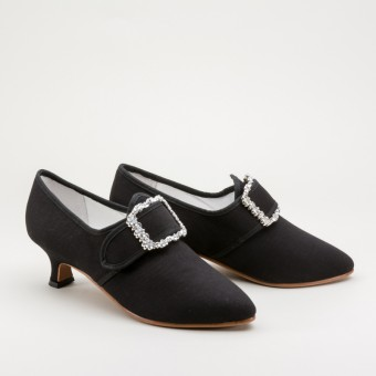 """Dunmore"" 18th Century Shoes (Black Wool)(1770-1790)"