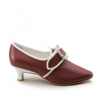 """Dunmore"" 18th Century Shoes (Oxblood/White)(1770-1790)"