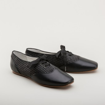 "PRE-ORDER ""Eliza"" Early Victorian Shoes (Grey/Black)(1830-1860s)"