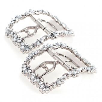 """Fleur"" 18th Century Shoe Buckles (Silver)"