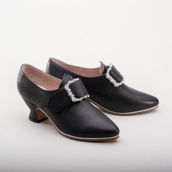 """Fraser"" 18th Century Leather Shoes (Black)(1700-1760)"