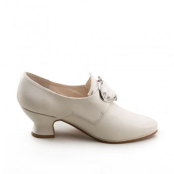 """""""Fraser"""" 18th Century Leather Shoes (Ivory)(1700-1760)"""