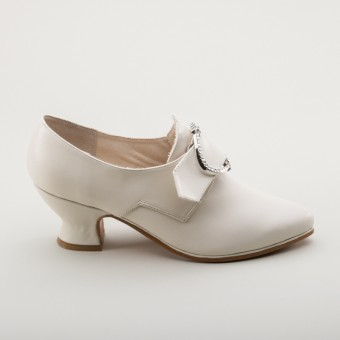 """Fraser"" 18th Century Leather Shoes (Ivory)(1700-1760)"