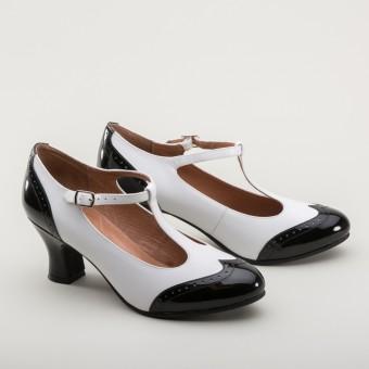 Gatsby Two-Tone T-Straps (Black/White)