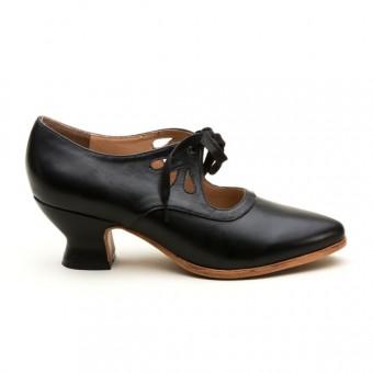 """Gibson"" Edwardian Leather Shoes (Black)(1900-1925)"