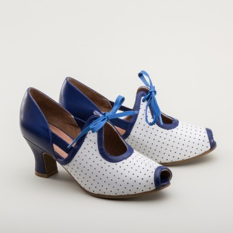 Ginger 1930s Sandals (Blue/White)