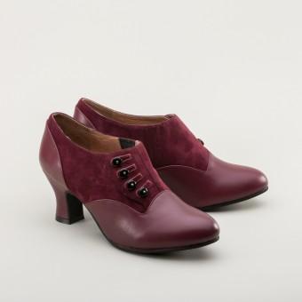 """Greta"" Retro Side-Button Shoes (Garnet)"