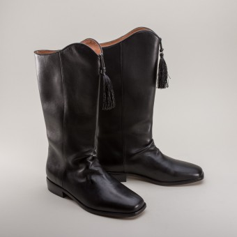 """Linden"" Women's Georgian Boots (Black) (1790 - 1830)"