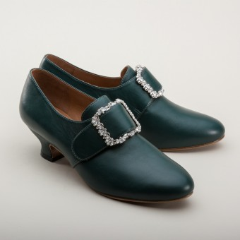 "PRE-ORDER ""Kensington"" 18th Century Leather Shoes (Dark Green)(1760-1790)"