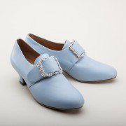 """Kensington"" 18th Century Leather Shoes (French Blue)(1760-1790)"