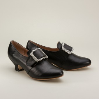 Kensington 18th Century Leather Shoes (Black)(1760-1790)