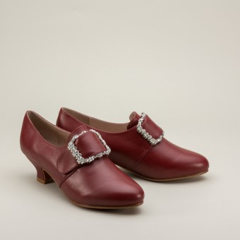 """Kensington"" 18th Century Leather Shoes (Oxblood)(1760-1790)"