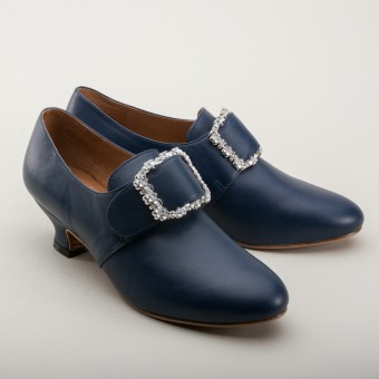 """Kensington"" 18th Century Leather Shoes (Navy)(1760-1790)"