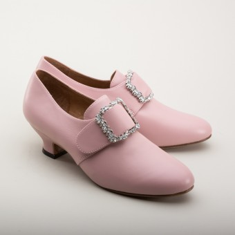 "PRE-ORDER ""Kensington"" 18th Century Leather Shoes (Pink)(1760-1790)"