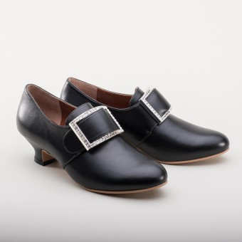 "VEGAN ""Kensington"" 18th Century Shoes (Black)(1760-1790)"