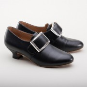 """Kensington"" 18th Century Leather Shoes (Black)(1760-1790)"