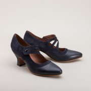 """Mae"" Edwardian Shoes (Navy Blue)(1900-1925)"