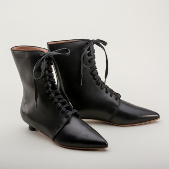 """Mansfield"" Regency Leather Boots (Black)(1785-1805)"