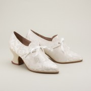"""Pompadour"" French Court Shoes (White)(1680-1760)"