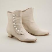 """Renoir"" Civil War Button Boots (Ivory)(1850-1880s)"