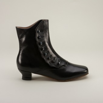 """Renoir"" Civil War Button Boots (Black)(1850-1880s)"