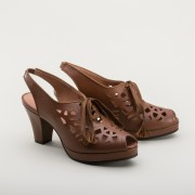 """Rita"" 1940s Cutout Platform Slingbacks (Brown)"
