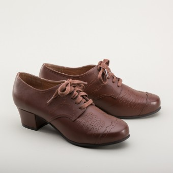 """Ruth"" 1940s Oxfords  (Brown)"