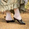 """PRE-ORDER """"Sophie"""" 18th Century Leather Mules (Black)(1760-1790)"""