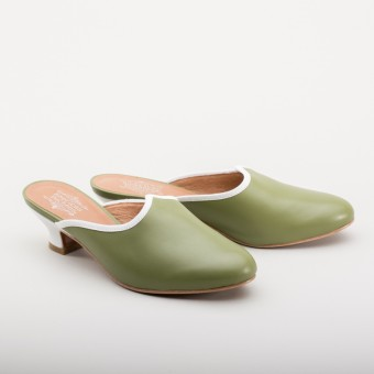 """Sophie"" 18th Century Leather Mules (Green)(1760-1790)"