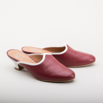 """Sophie"" 18th Century Leather Mules (Oxblood)(1760-1790)"